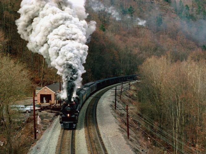 trains railroad tracks steam engine vehicles wallpaper