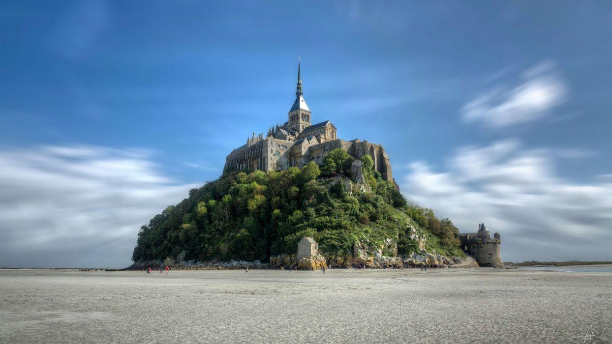 clouds landscapes Normandy France Mont Saint-Michel monastery wallpaper