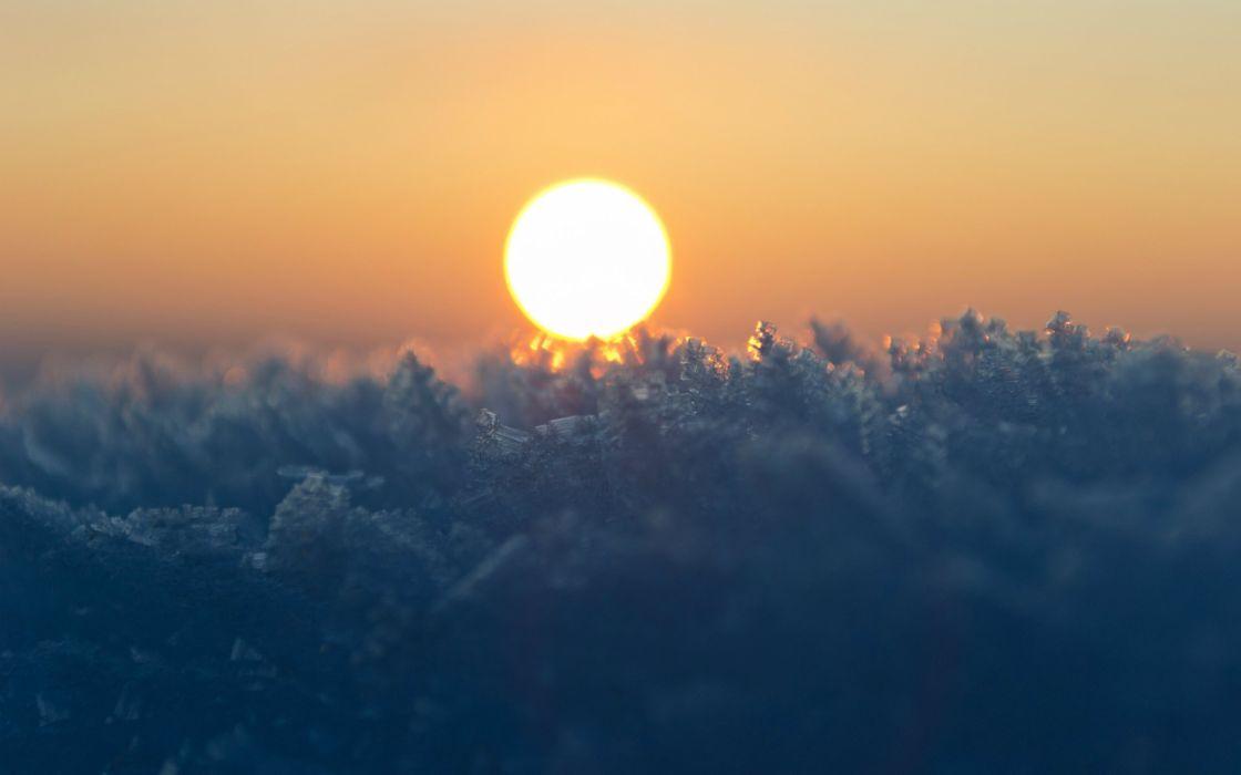 sunset sunrise Sun dawn hoarfrost wallpaper