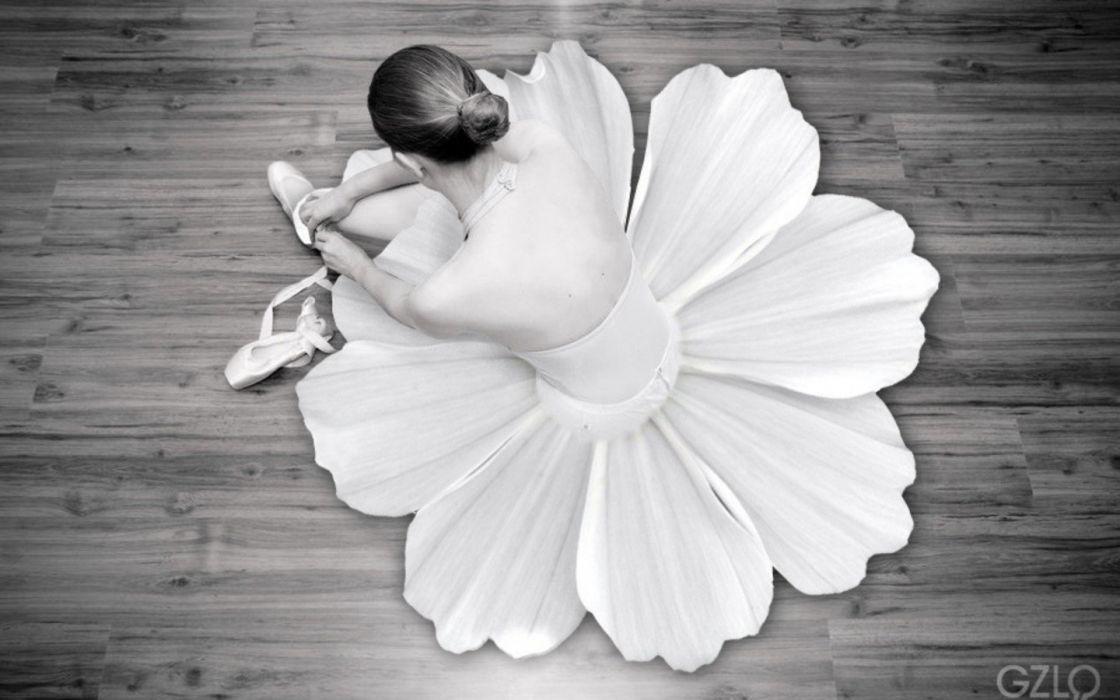 flowers ballet monochrome dancers ballet shoes wallpaper