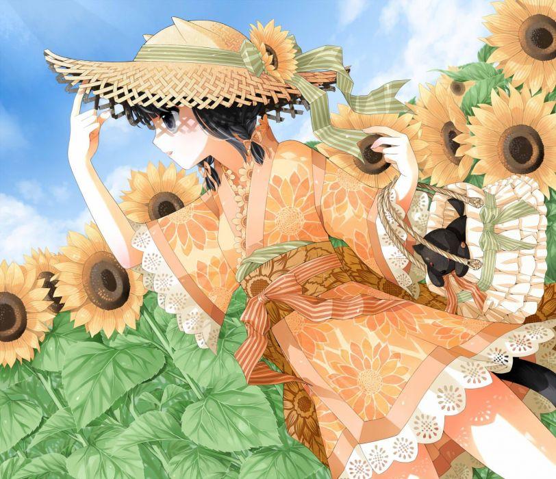 kimono animal ears black eyes straw hat lolita fashion sunflowers anime girls black hair wallpaper