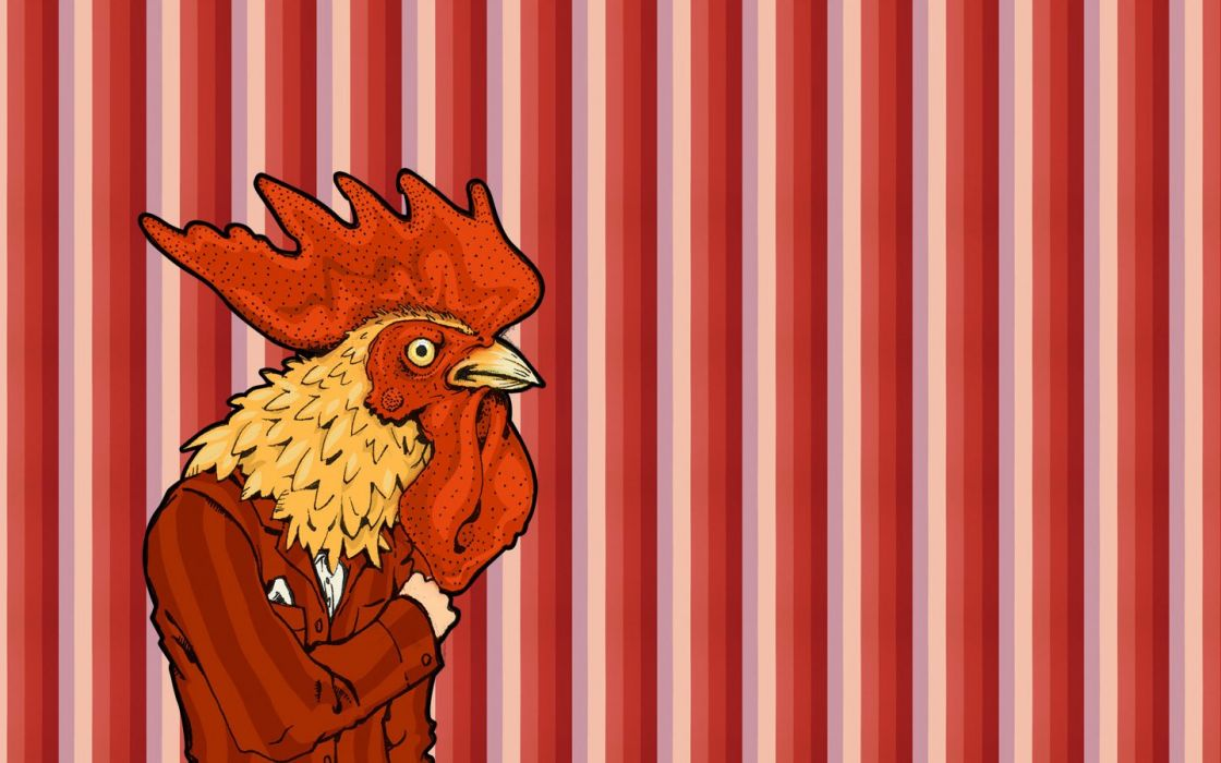 birds vectors chickens roosters stripes wallpaper