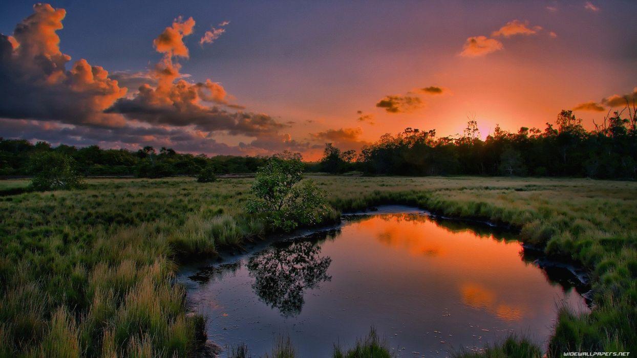 green water sunset nature wallpaper