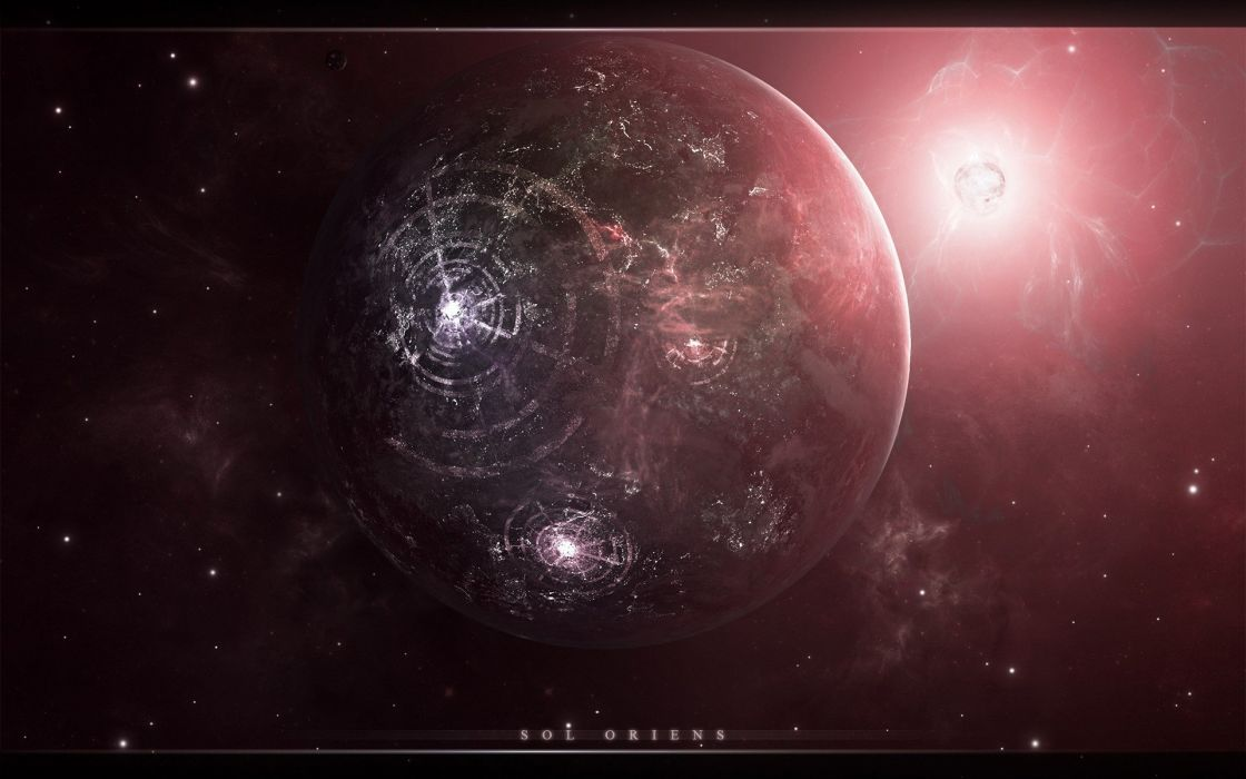 Sun outer space stars planets wallpaper