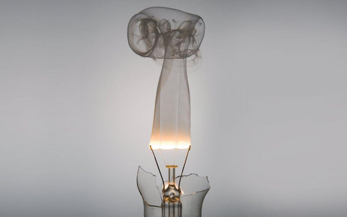 smoke digital art light bulbs wallpaper