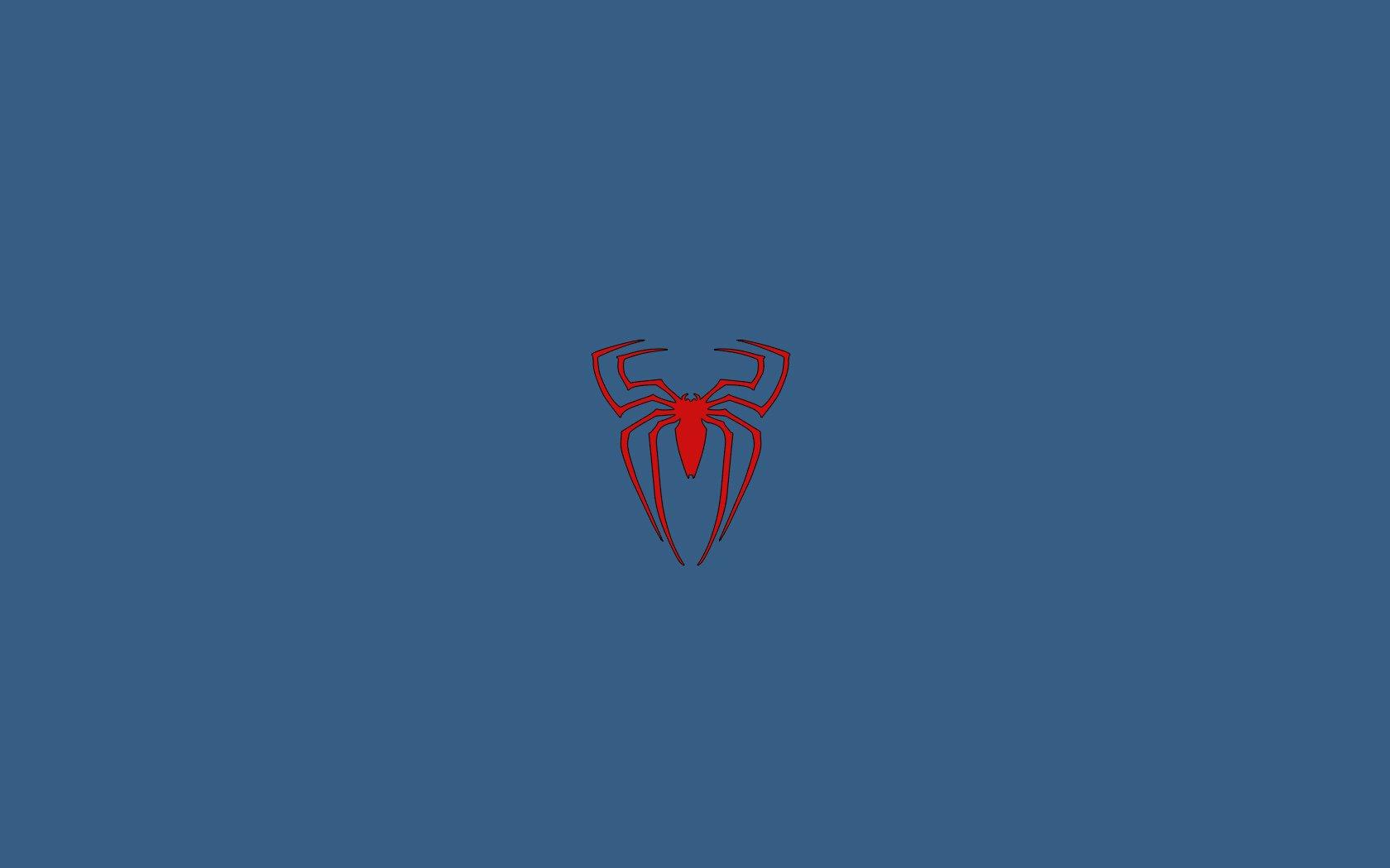 Minimalistic Spider Man Blue Background Logo Wallpaper