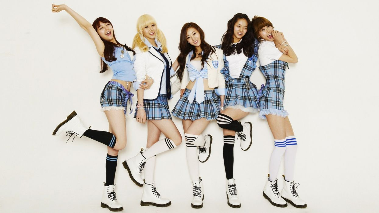 women school uniforms Asians Korean K-Pop Girls Day knee socks overknee socks wallpaper