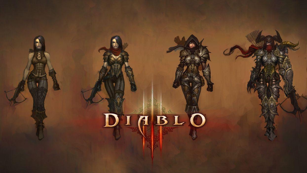 video games Demon Hunter artwork Diablo III drawings wallpaper