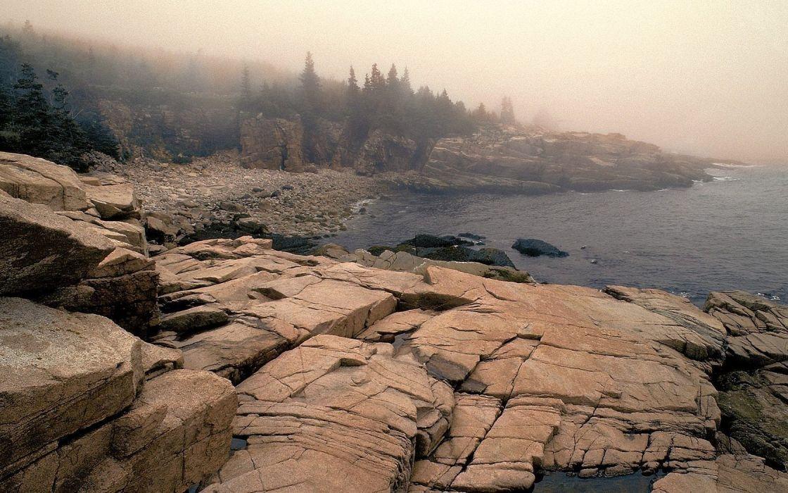 landscapes nature Maine fog National Park Acadia wallpaper