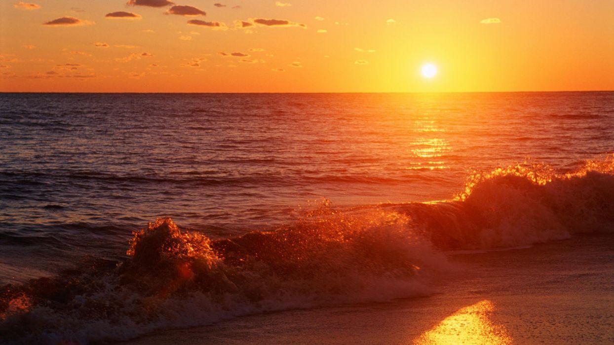 sunset California Pacific beaches wallpaper