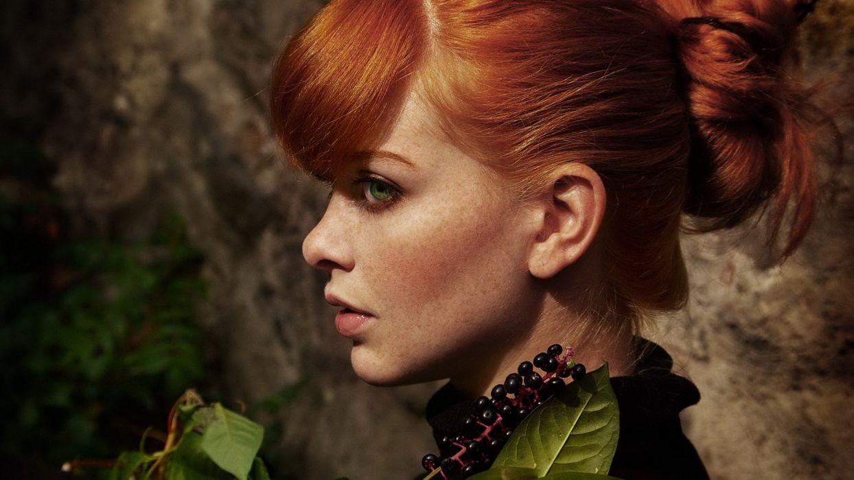 women redheads models green eyes faces wallpaper
