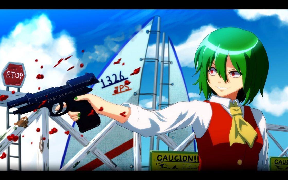 video games Touhou guns blood weapons red eyes short hair green hair Kazami Yuuka anime girls wallpaper
