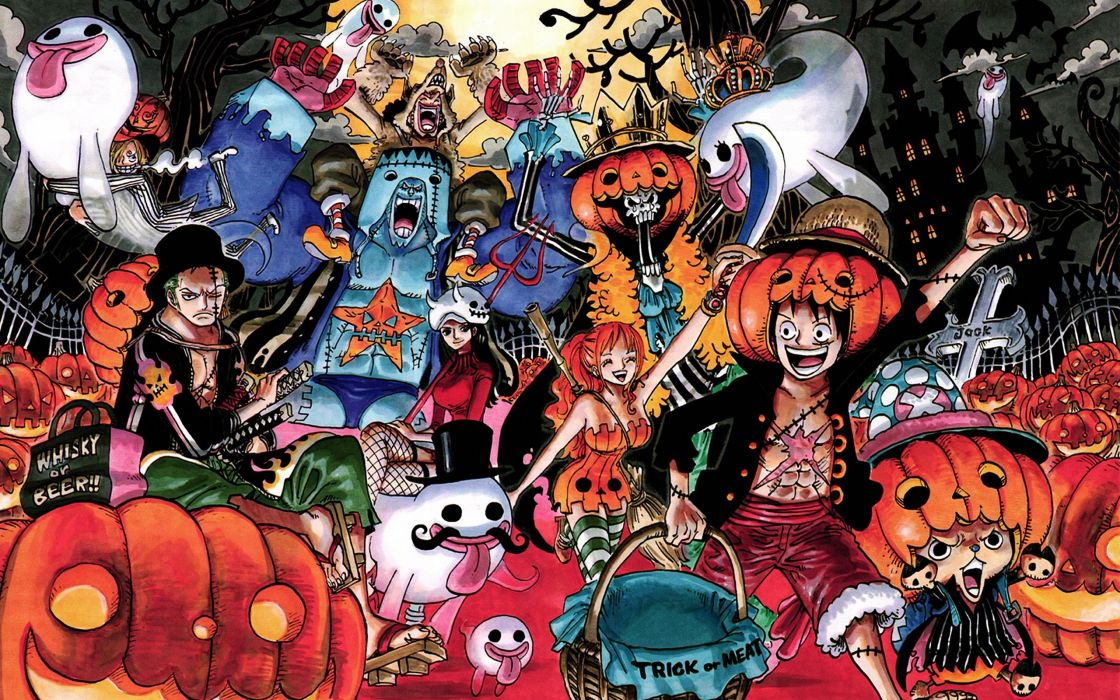 One Piece (anime) Halloween Nico Robin Roronoa Zoro Tony Tony Chopper Brook (One Piece) Nami (One Piece) Sanji (One Piece) wallpaper