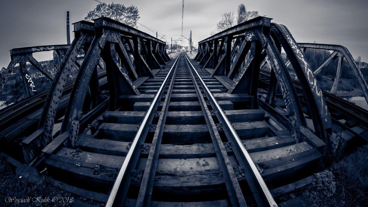 water black and white blue trains bridges urban railroad tracks Milky tracks wallpaper