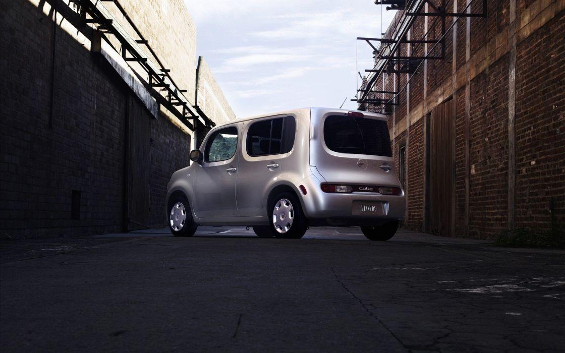 cars silver Nissan bricks Nissan Cube scaffolding wallpaper