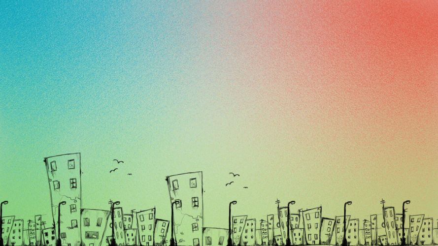 abstract cityscapes multicolor towns crows cities streetlamps townscape wallpaper