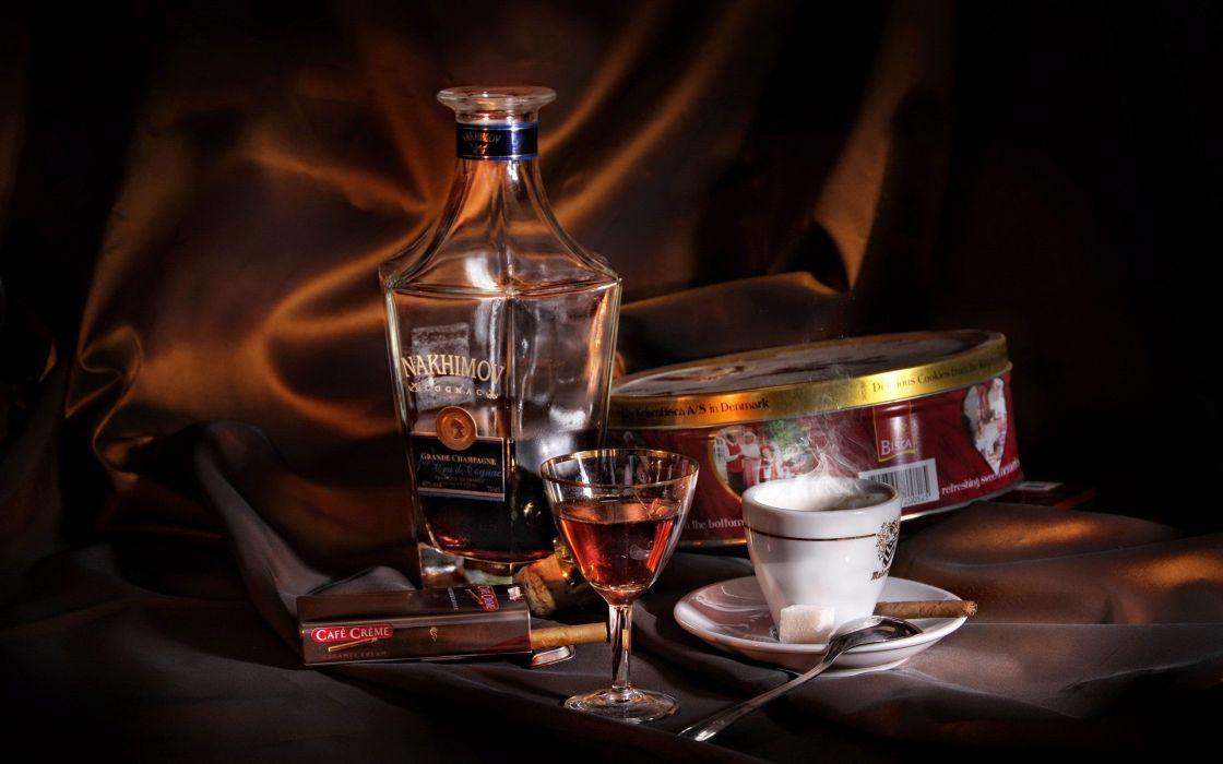 coffee alcohol cookies spoons cognac liquor wallpaper