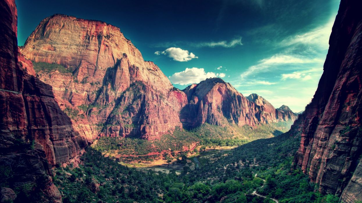 mountains clouds landscapes nature valleys canyon wallpaper