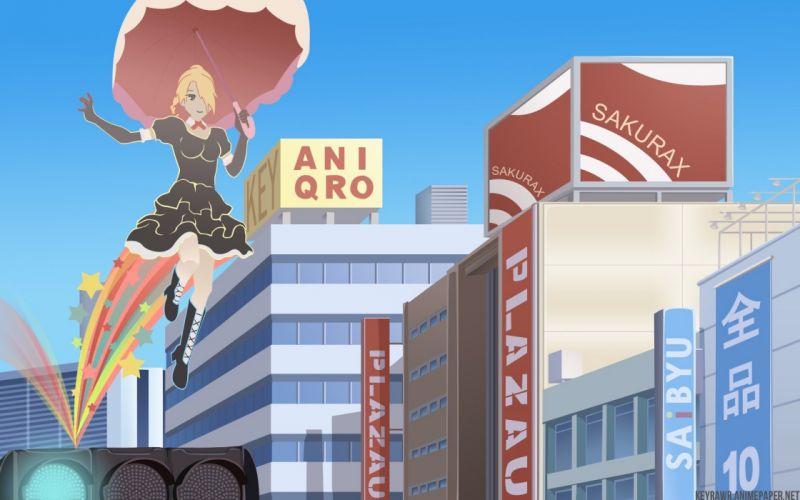 multicolor anime Beelzebub umbrellas Hilda Hildegarde wallpaper