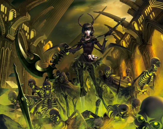 brunettes Black Rock Shooter undead scythe Dead Master weapons green eyes skeletons curly hair anime girls wallpaper