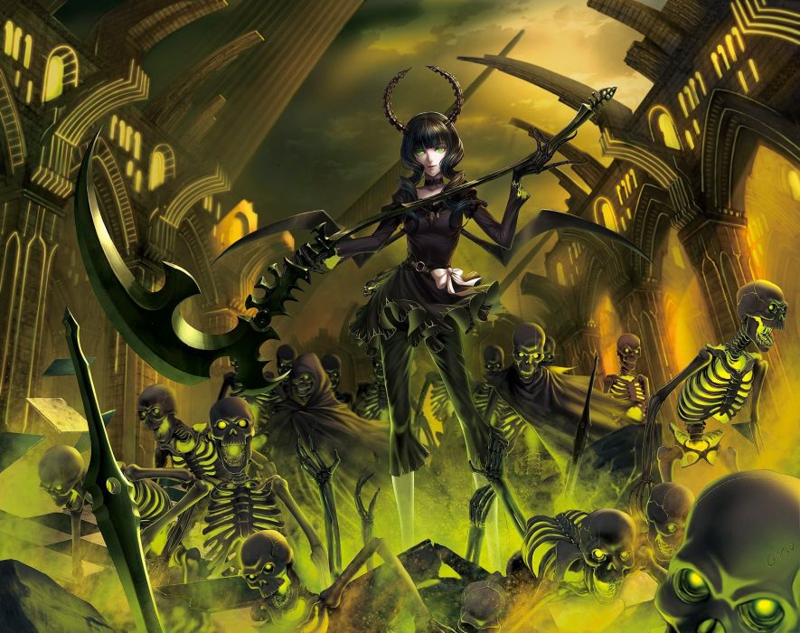 Brunettes Black Rock Shooter Undead Scythe Dead Master Weapons Green
