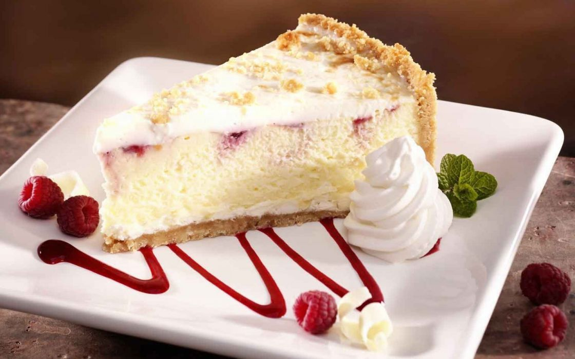 food desserts raspberries cheesecake whipped cream slices cakes wallpaper