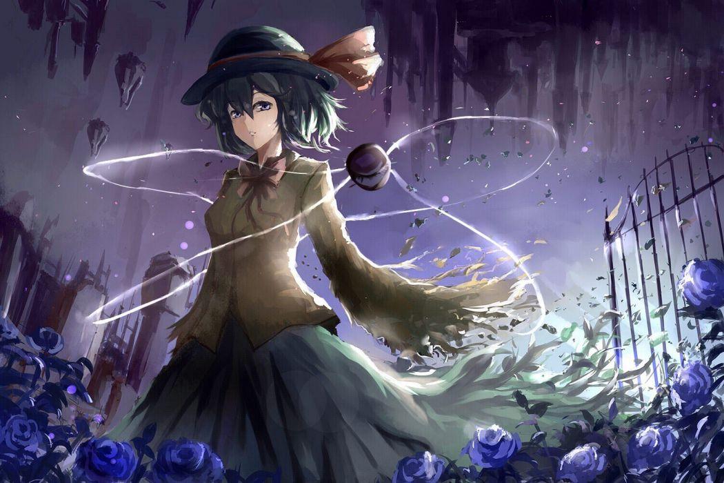video games Touhou flowers skirts short hair green hair bows purple eyes string Komeiji Koishi torn clothing gates roses hats anime girls third eye bangs wide sleeves long skirts wallpaper