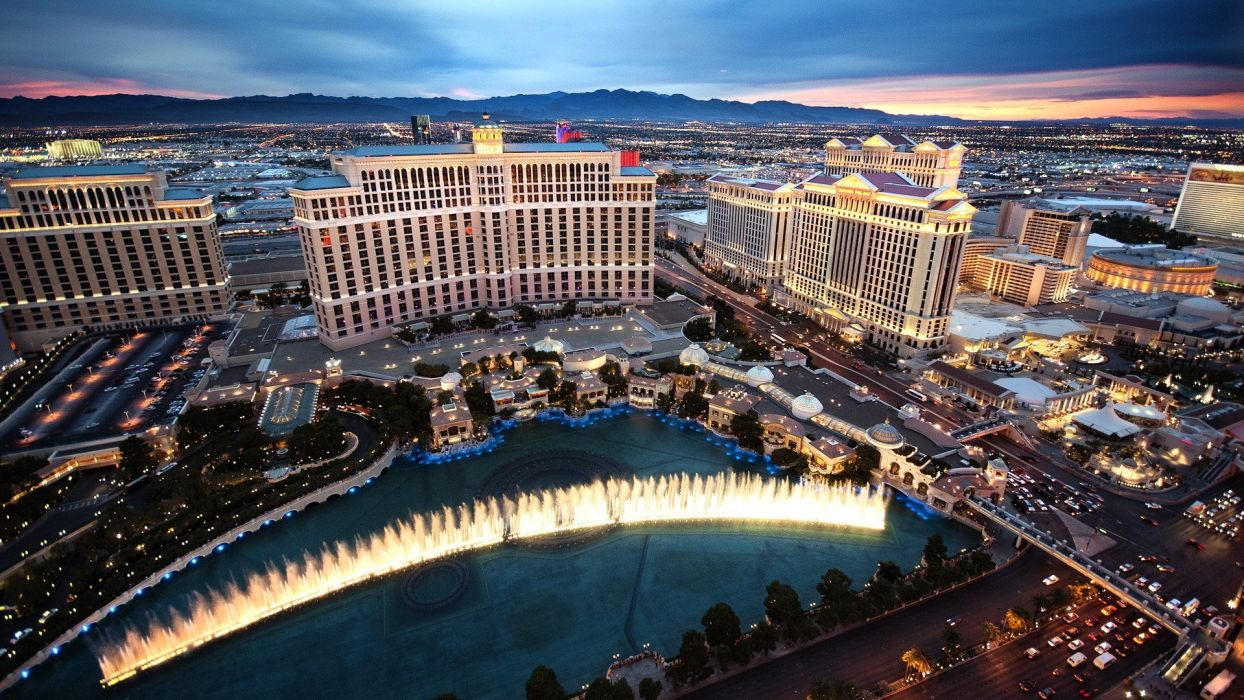 sunset blue landscapes Sun cityscapes Las Vegas outdoors roads digital art artwork vegas HDR photography skyscapes wallpaper