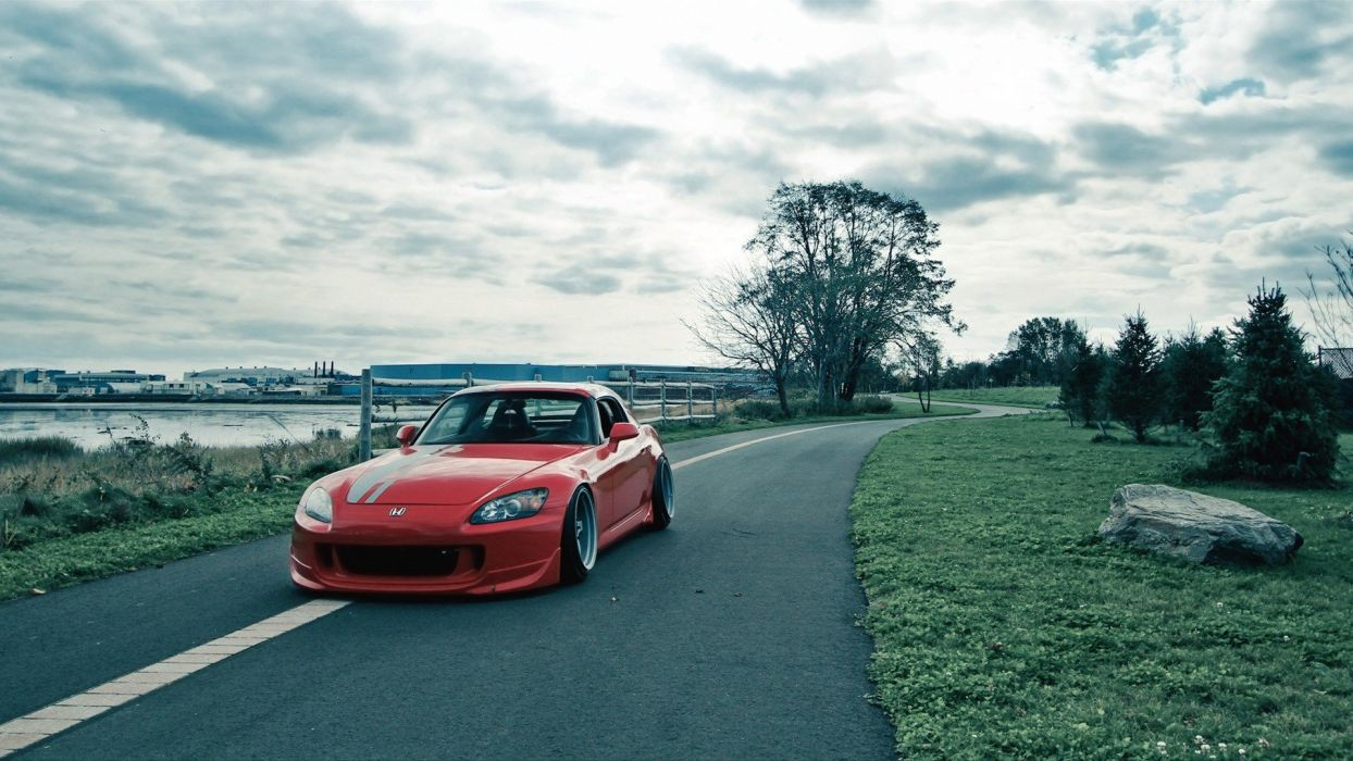 trees cars grass tuning Honda S2000 wallpaper