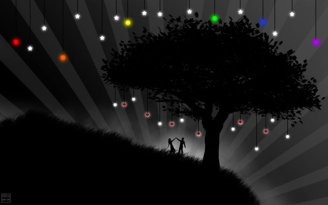 trees silhouettes vectors fields wallpaper