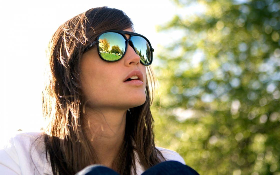 brunettes women outdoors sunglasses HTC HTC Sense wallpaper