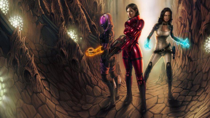 video games guns Mass Effect fantasy art Miranda Lawson science fiction artwork Commander Shepard Tali Zorah nar Rayya wallpaper