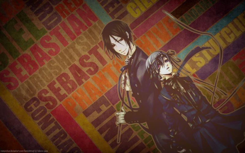 ribbons Kuroshitsuji Ciel Phantomhive Sebastian Michaelis anime anime boys wallpaper