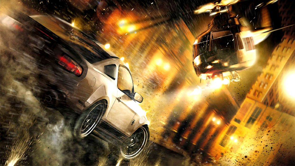 NEED FOR SPEED action helicopter fire wallpaper