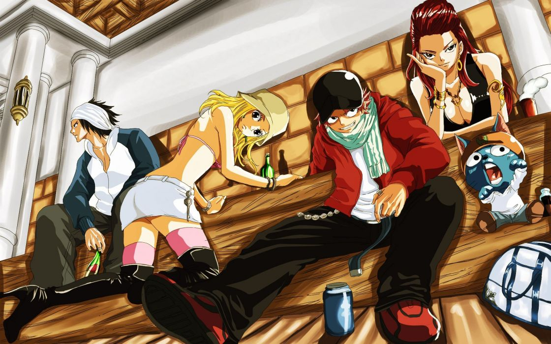 Fairy Tail Scarlet Erza Fullbuster Gray Dragneel Natsu Happy (Fairy Tail) Erza Knightwalker Heartfilia Lucy wallpaper
