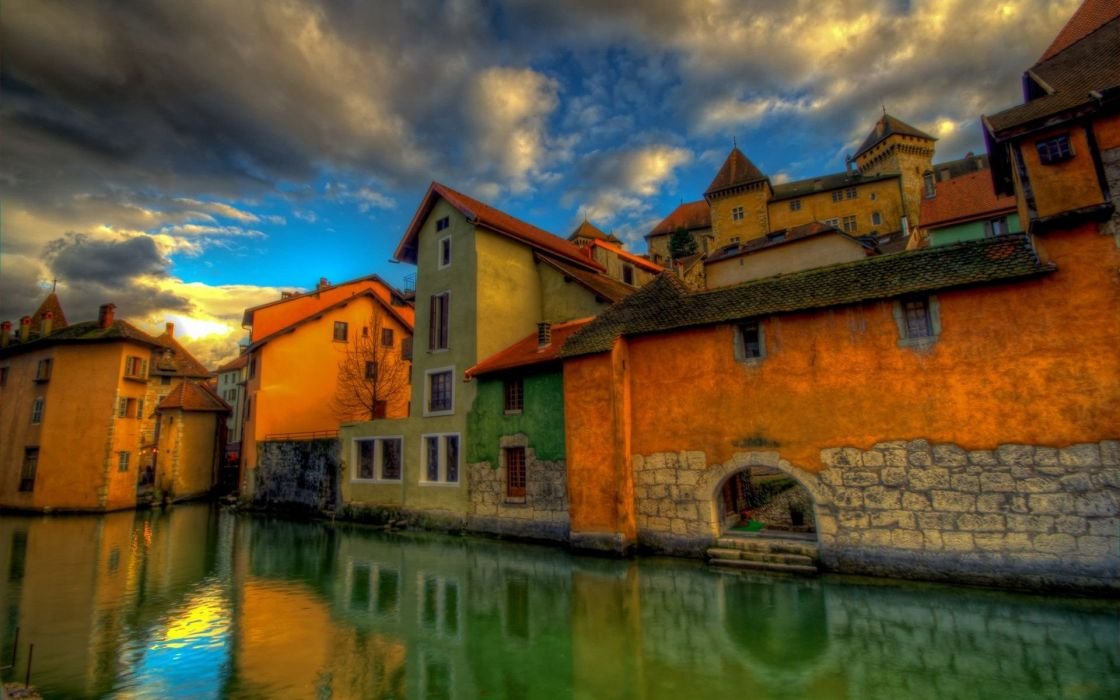 houses HDR photography rivers wallpaper