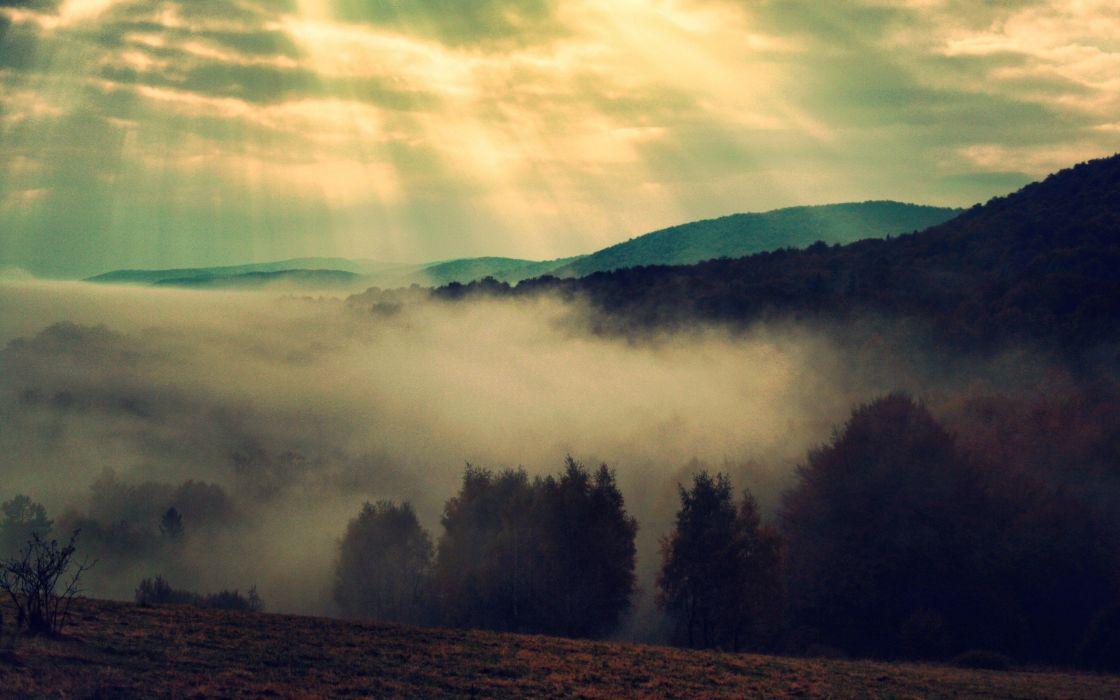 mountains clouds landscapes nature trees fog mist sunlight bieszczady wallpaper