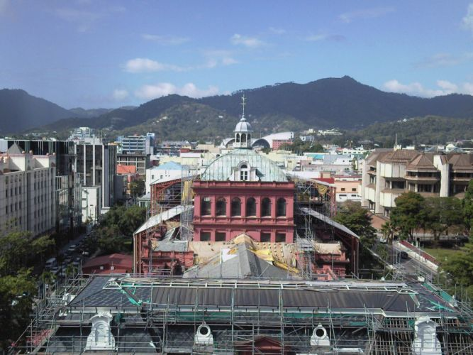 library urban Trinidad twin towers Port of Spain wallpaper