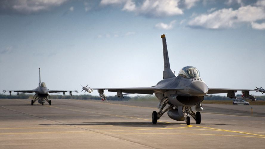 clouds aircraft military runway F-16 Fighting Falcon aviation skyscapes tarmac fighter jets wallpaper
