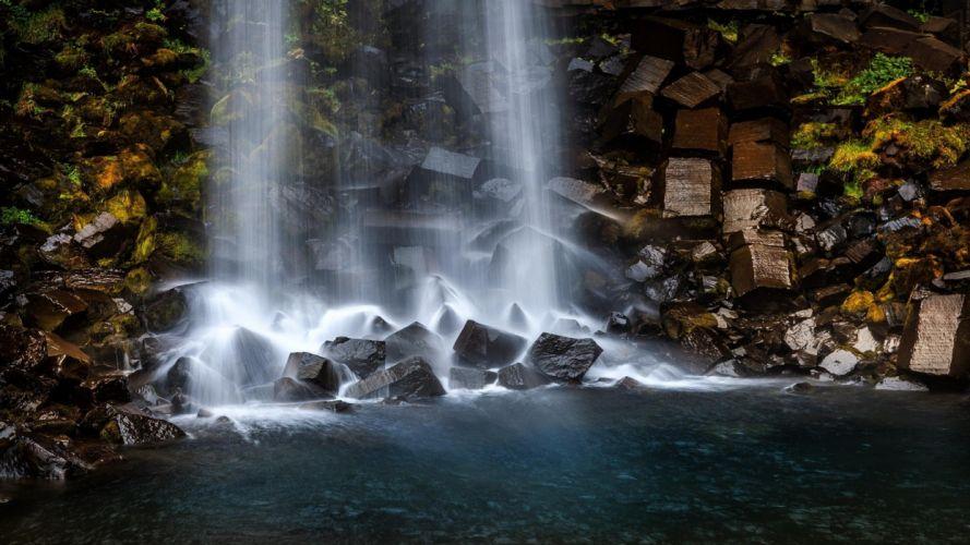 water blue landscapes nature rocks plants waterfalls lagoon falling water wallpaper