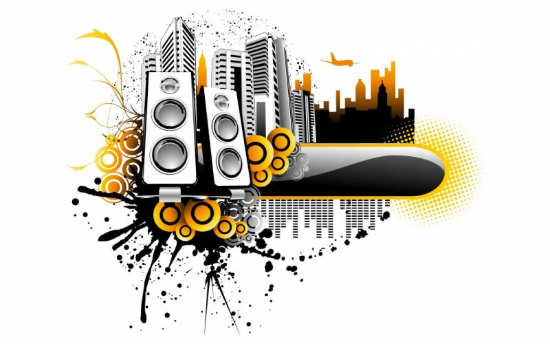 abstract music speakers wallpaper