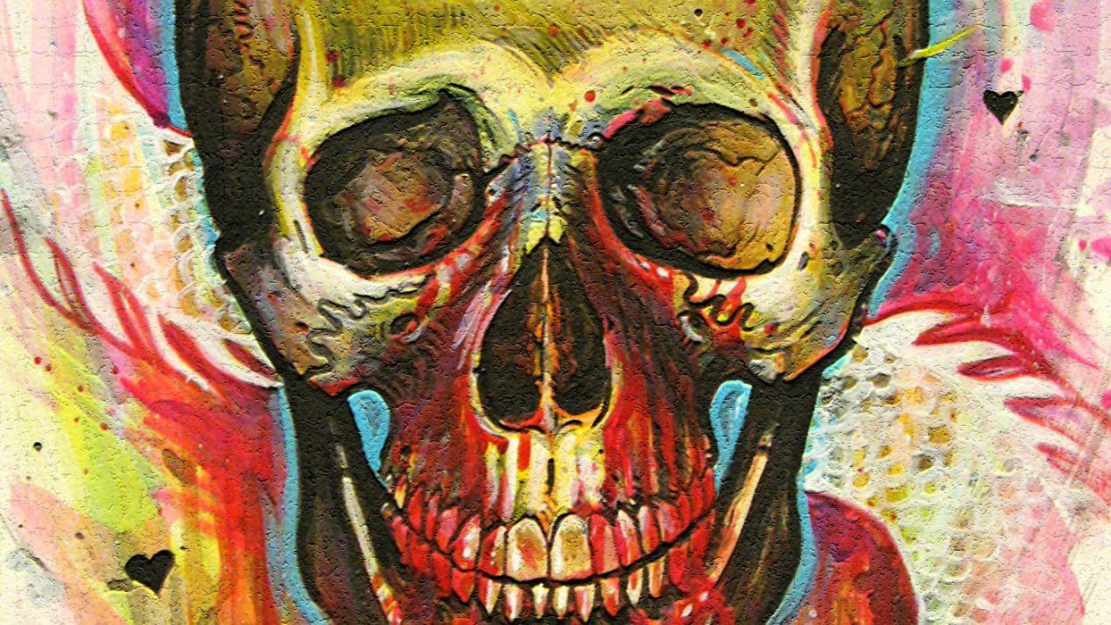 skulls paintings multicolor psychedelic wallpaper