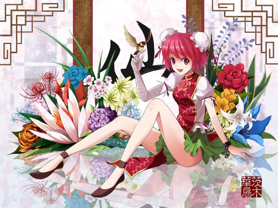 video games Touhou flowers anime girls Ibaraki Kasen Chinese clothes wallpaper
