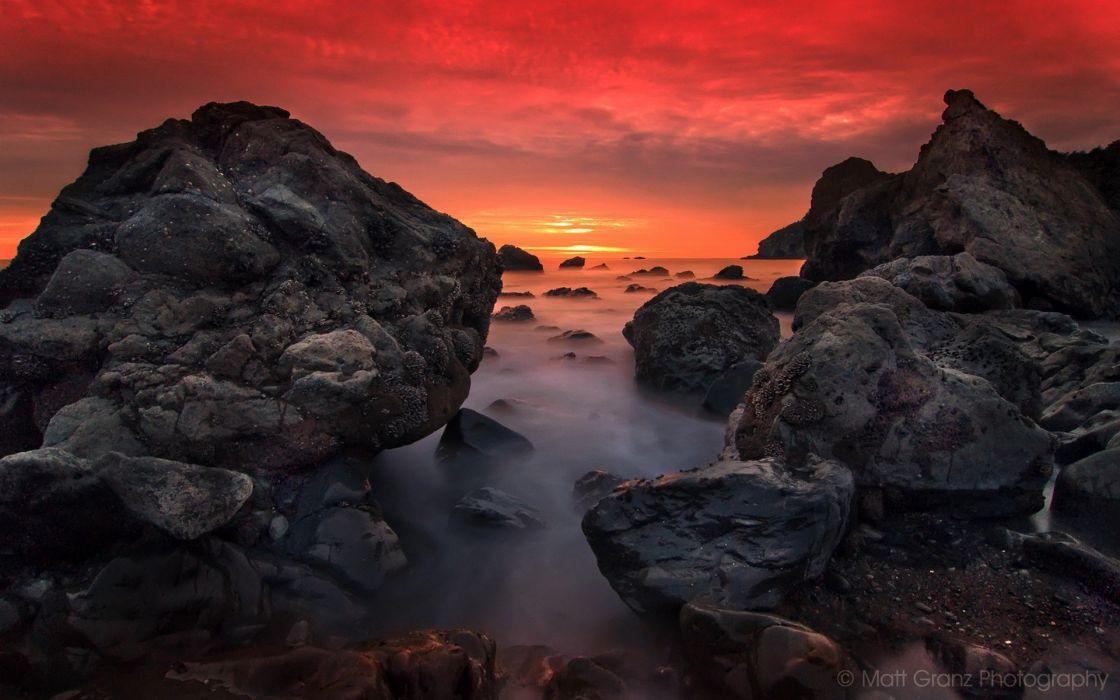 sunset ocean nature rocks sea wallpaper