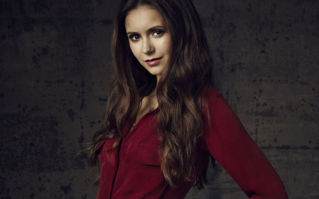 brunettes women red Nina Dobrev shirts faces portraits wallpaper