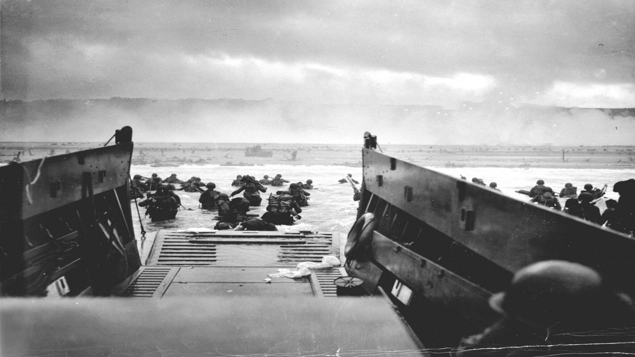 soldiers Normandy Invasion vintage World War II D-Day wallpaper