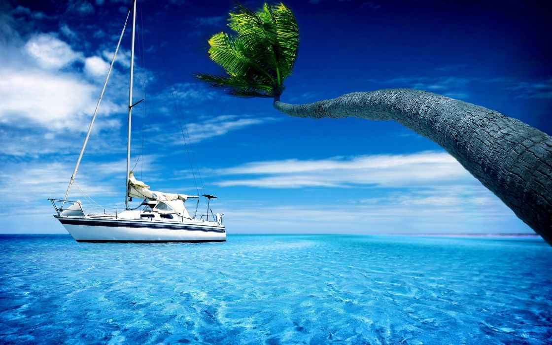 ocean clouds landscapes palm sailing skyscapes sailing ships wallpaper