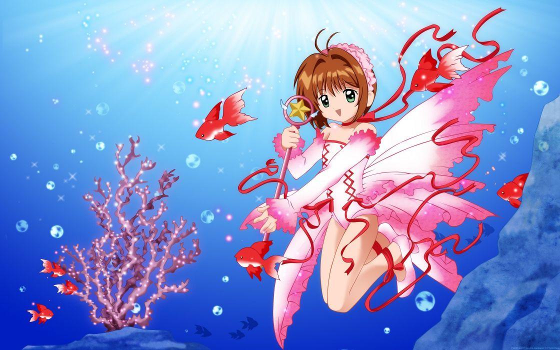 water fish bubbles Cardcaptor Sakura Kinomoto Sakura anime girls wallpaper