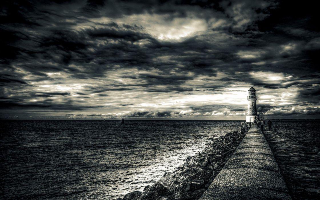 lighthouses monochrome wallpaper