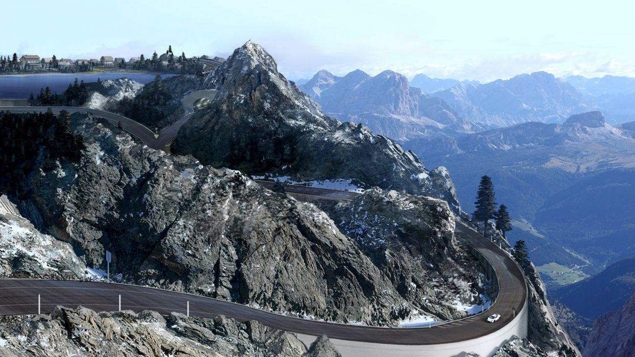 video games mountains landscapes nature cars Xbox 360 Lamborghini Gallardo Forza Motorsport 4 race tracks wallpaper